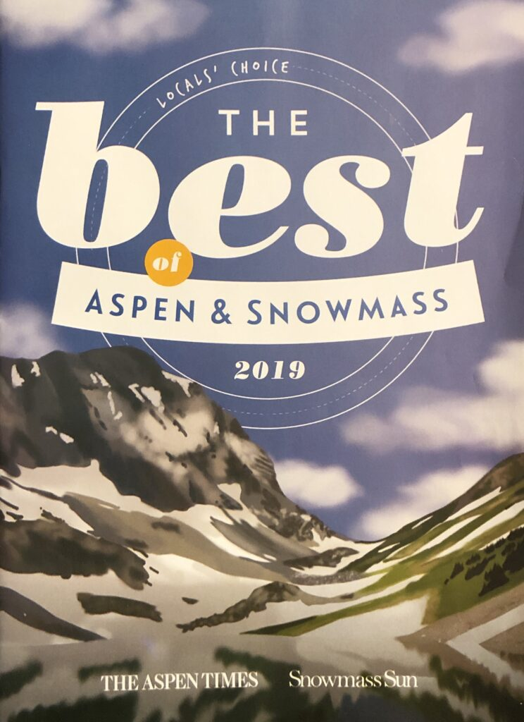 The 2019 Best of Aspen Snowmass, where I was selected as Best Ski Instructor.