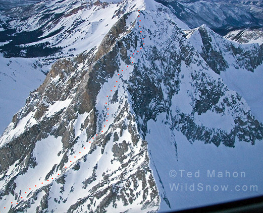 Ted Mahon's ski route on Capitol Peak, indicated in red.