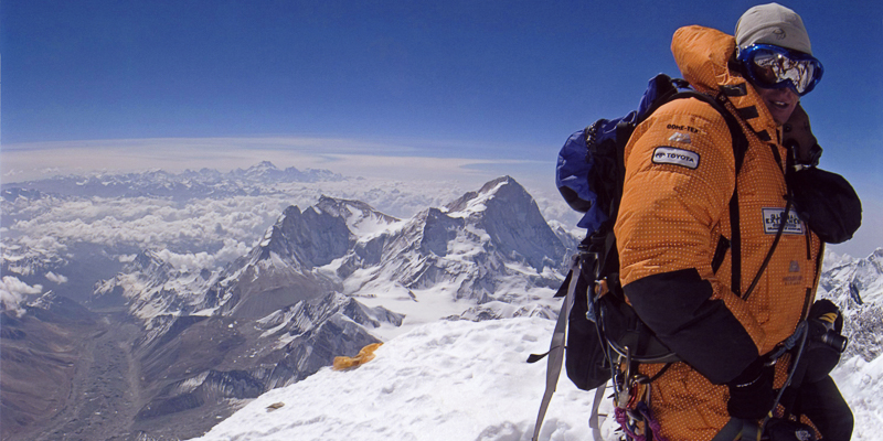 Ted Mahon on the summit of Mount Everest